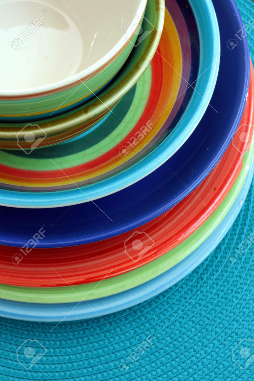 Colourful bowls and plates Stock Photo - 14648693 : colourful dinnerware - pezcame.com