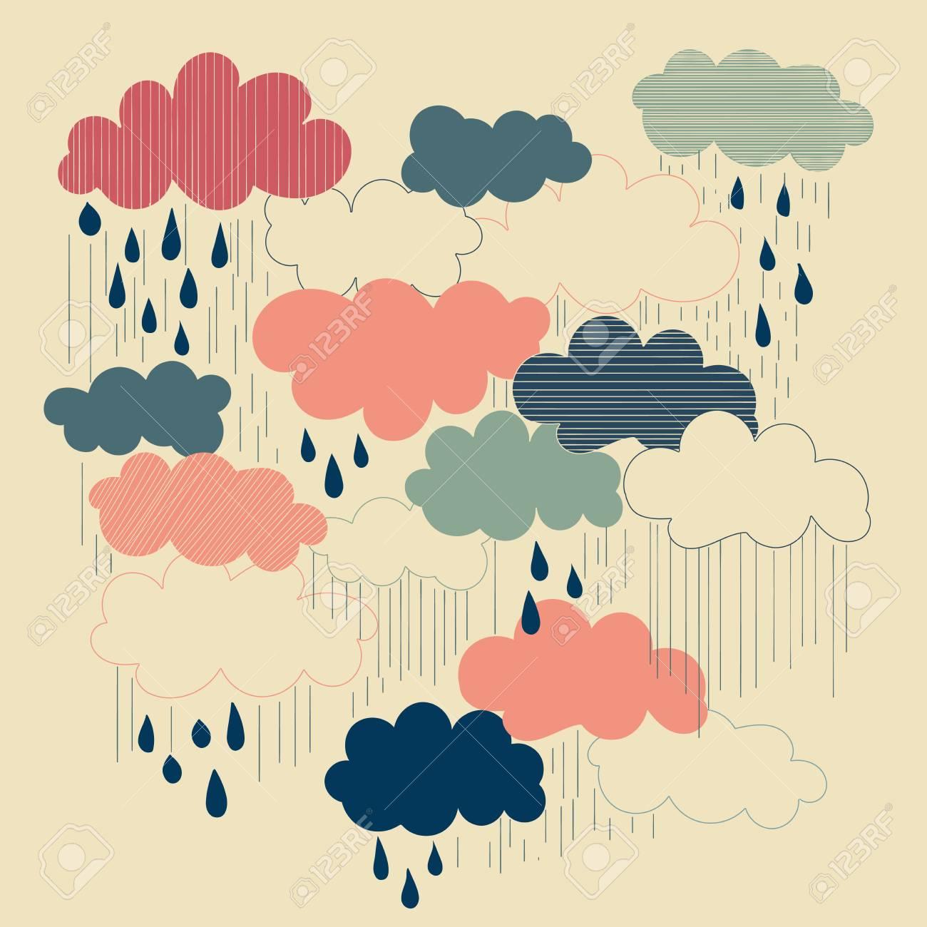 Rain season illustrations, clouds and raindrops in the sky  Retro