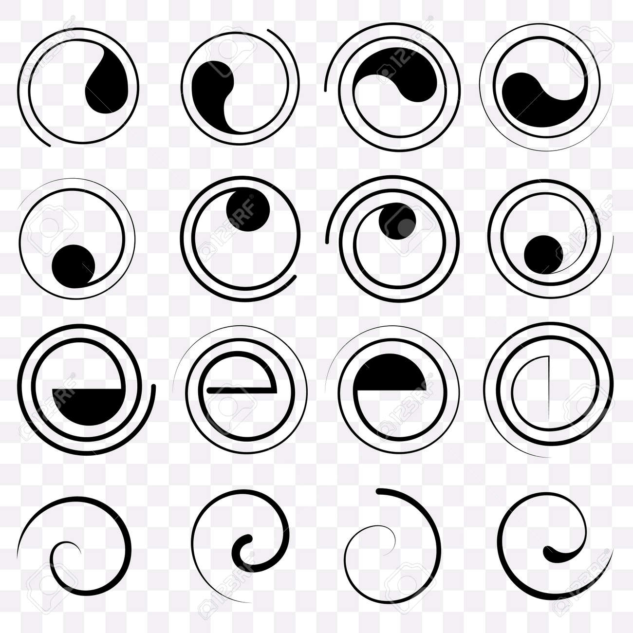 Set Fractal And Swirl Shape Element Vintage Monochrome Round Objects Vector Decorative Sample