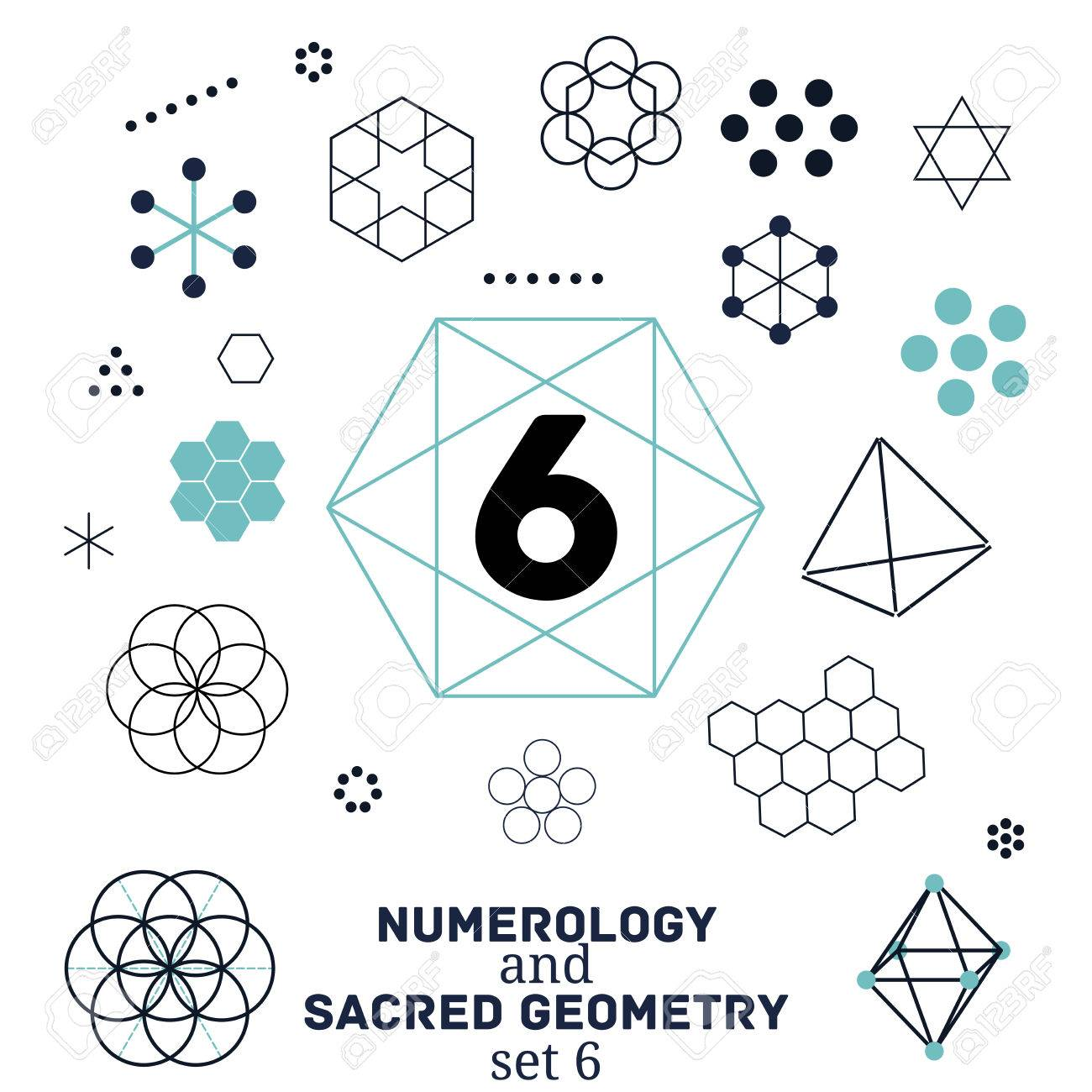Sacred geometry and numerology symbols vector illustration  Set