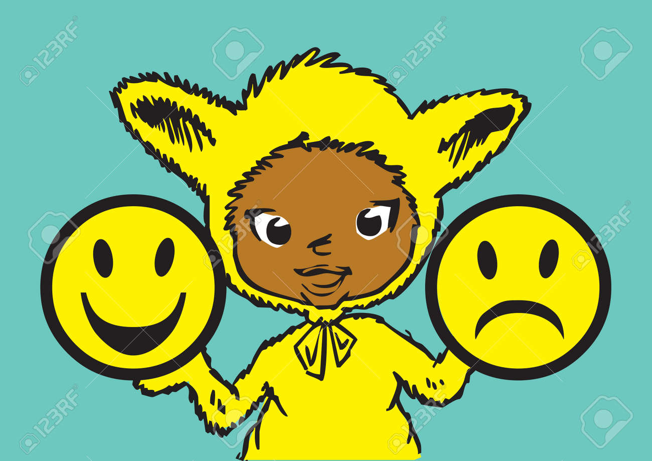 children series / human values / happyness, anger and imperturbability Stock Vector - 3028257