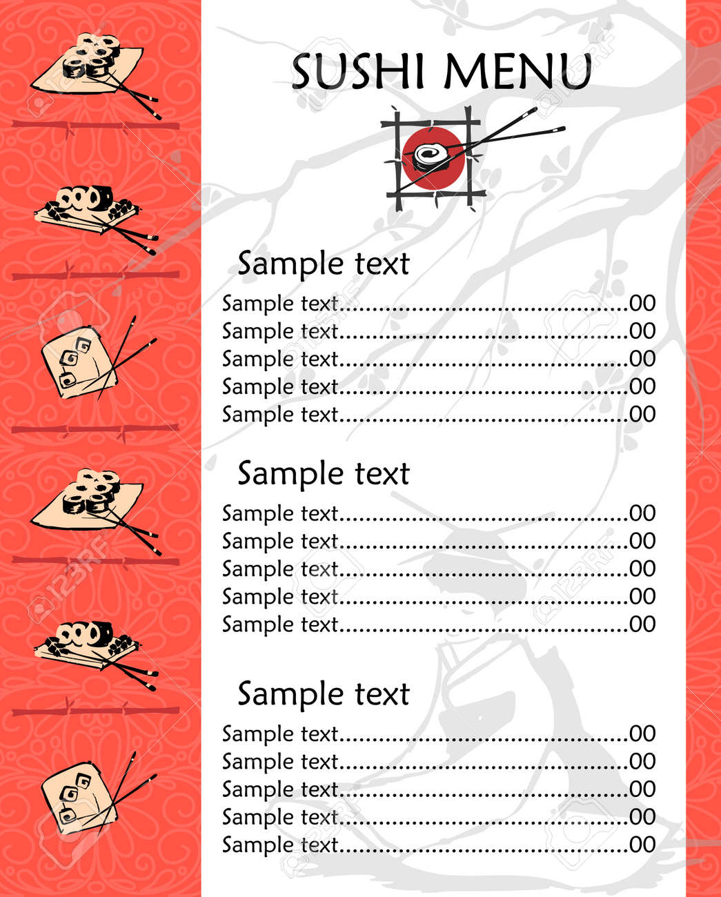 Illustration of a sushi menu template with space for text royalty illustration of a sushi menu template with space for text stock vector 15236492 pronofoot35fo Choice Image