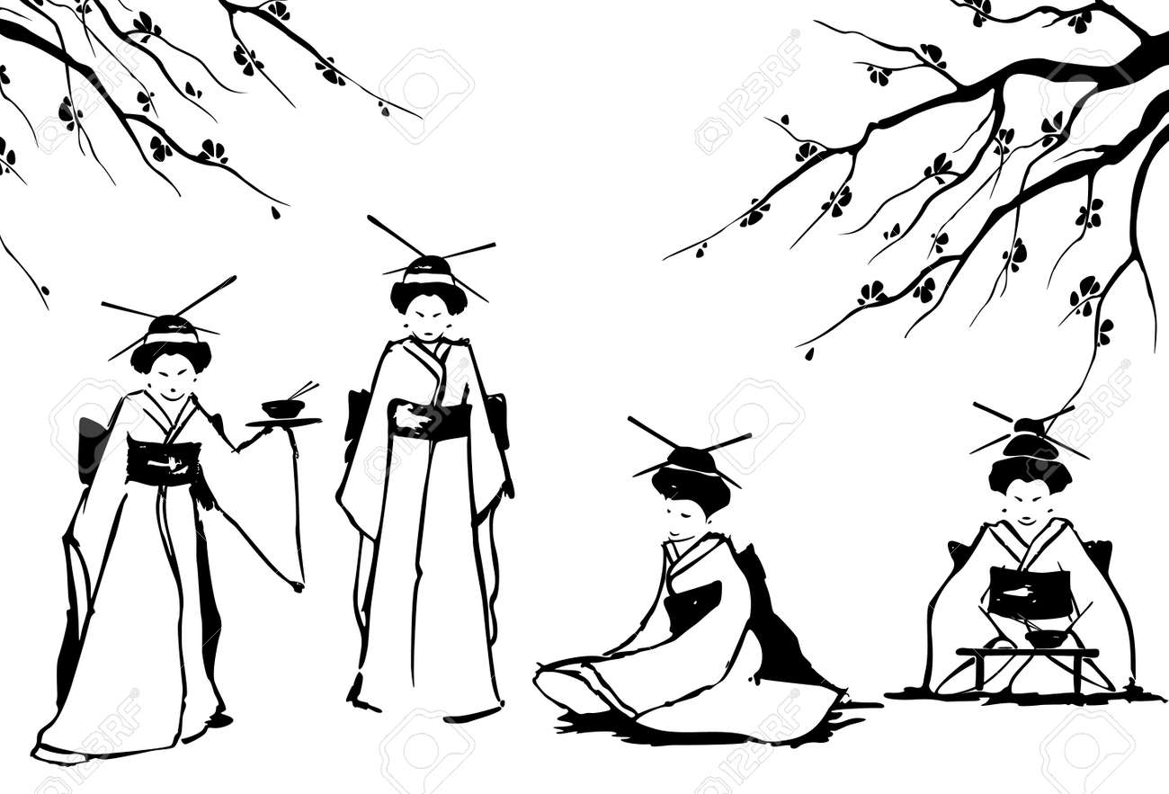 Geisha and sakura  Vector illustration Stock Vector - 15311085