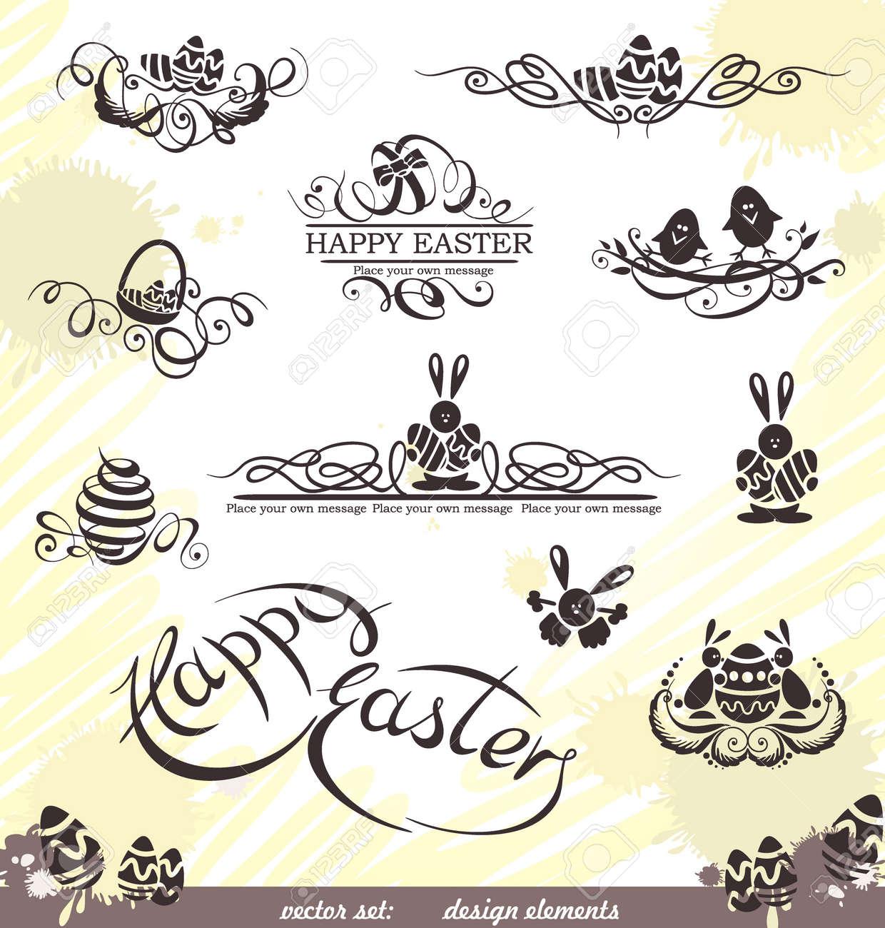 Happy Easter vector set  design elements Stock Vector - 15311102