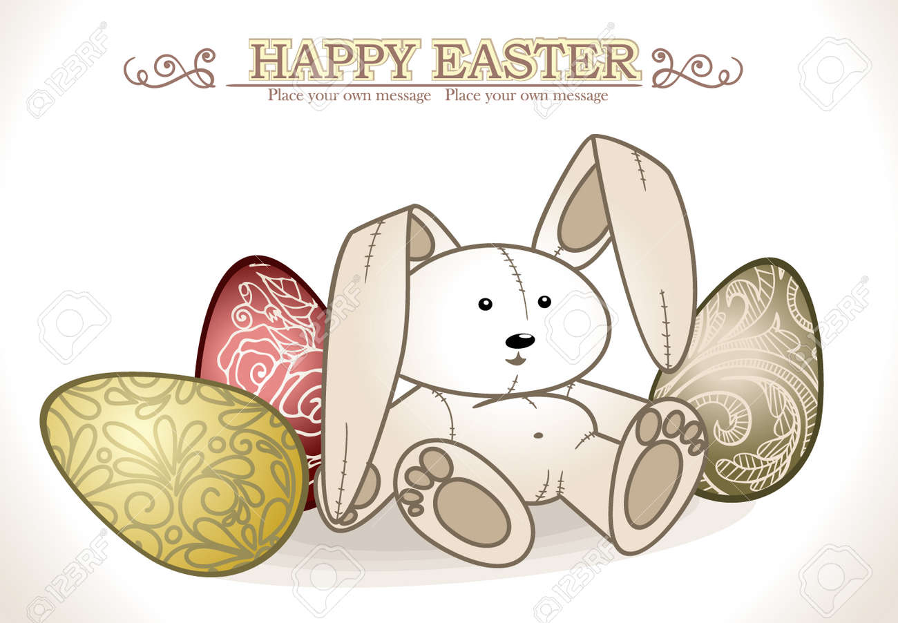 Bunny With Easter Eggs  Vector illustration Stock Vector - 15311089