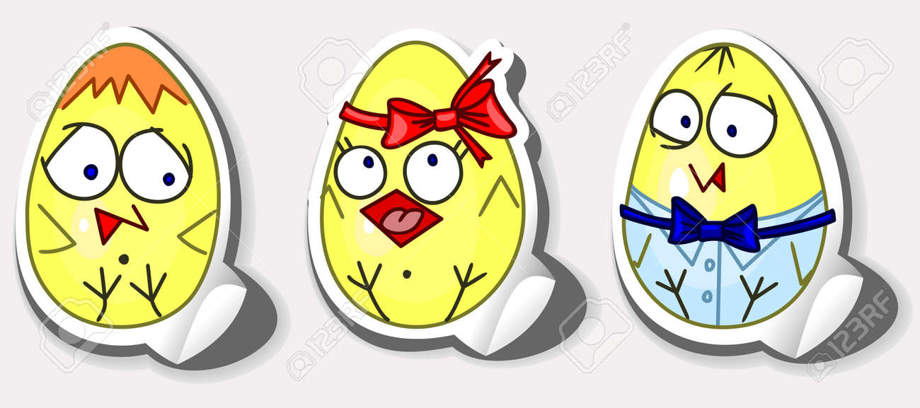 Happy Easter Stickers Chicken In The Egg Royalty Free Cliparts ...