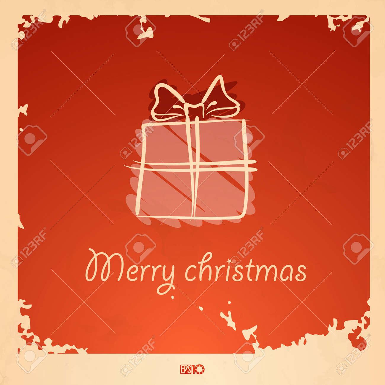 Christmas vintage gift box. Stock Vector - 17205928