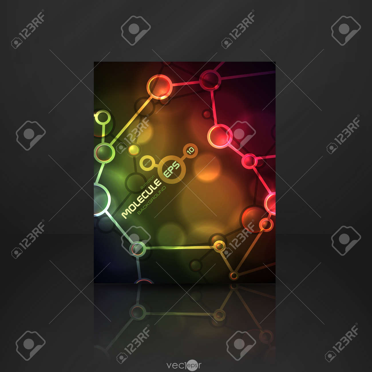 Neon molecule illustration Stock Vector - 20814242