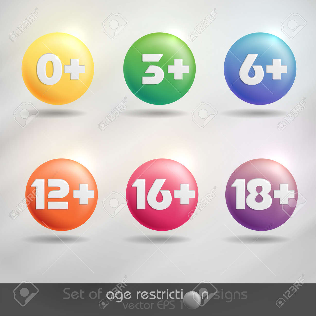 Set of age restriction signs   Vector illustration Stock Vector - 20992398