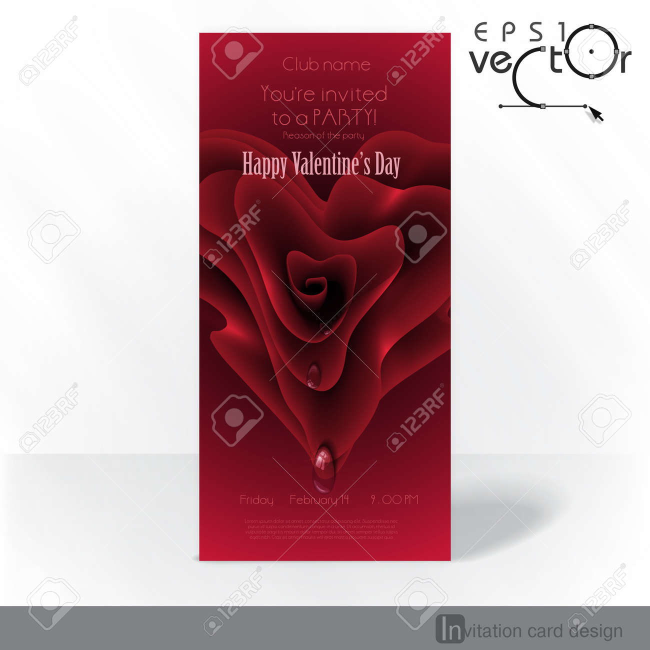 Party Invitation Card Design, Template. Happy Valentines Day ...