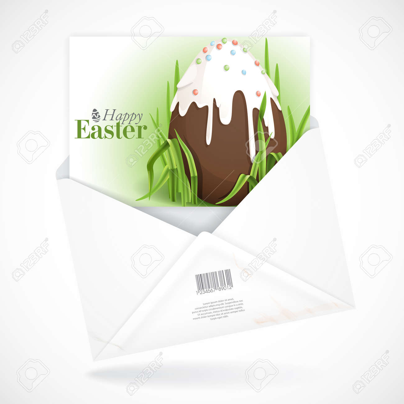 Postal Envelopes With Greeting Card. Chocolate Easter Egg. Vector ...