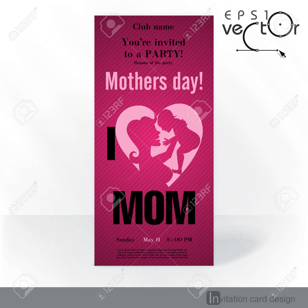 party invitation card design template happy mothers day royalty