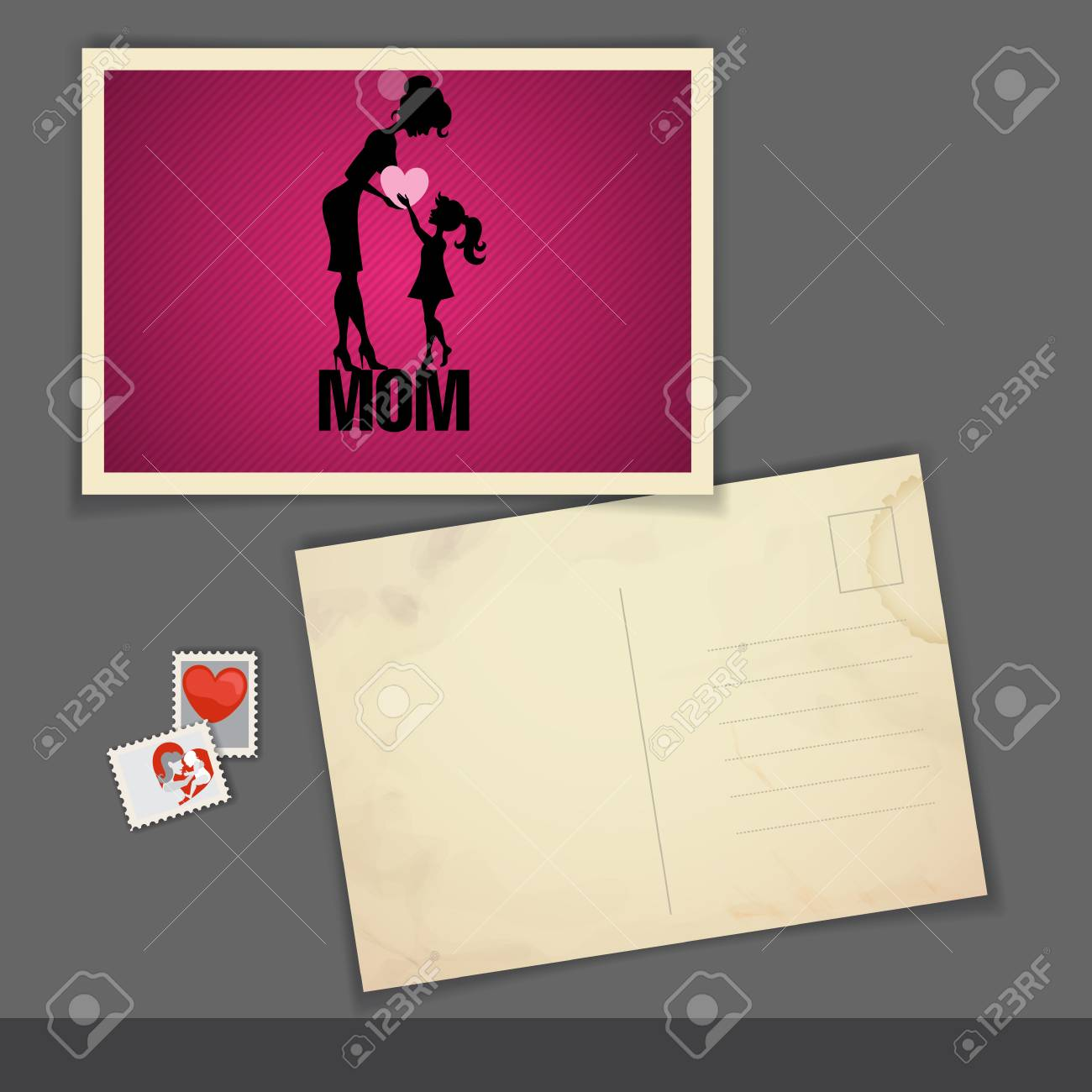 old postcard design template happy mothers day stock photo 28172704