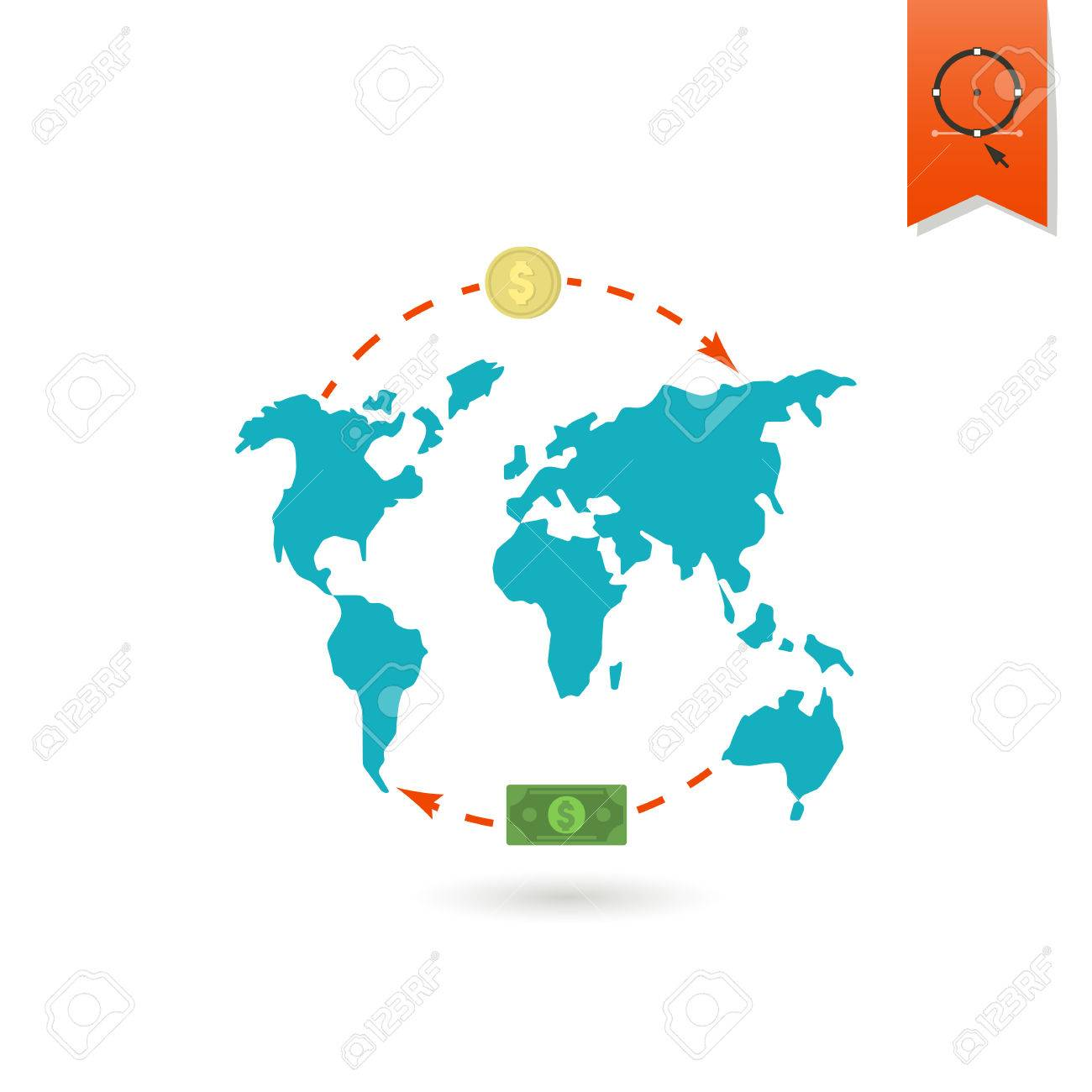 World map and money business and finance single flat icon royalty vector world map and money business and finance single flat icon gumiabroncs Image collections