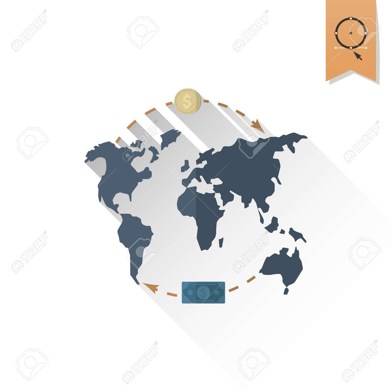 World map and money business and finance single flat icon stock stock photo world map and money business and finance single flat icon simple and minimalistic style gumiabroncs Images