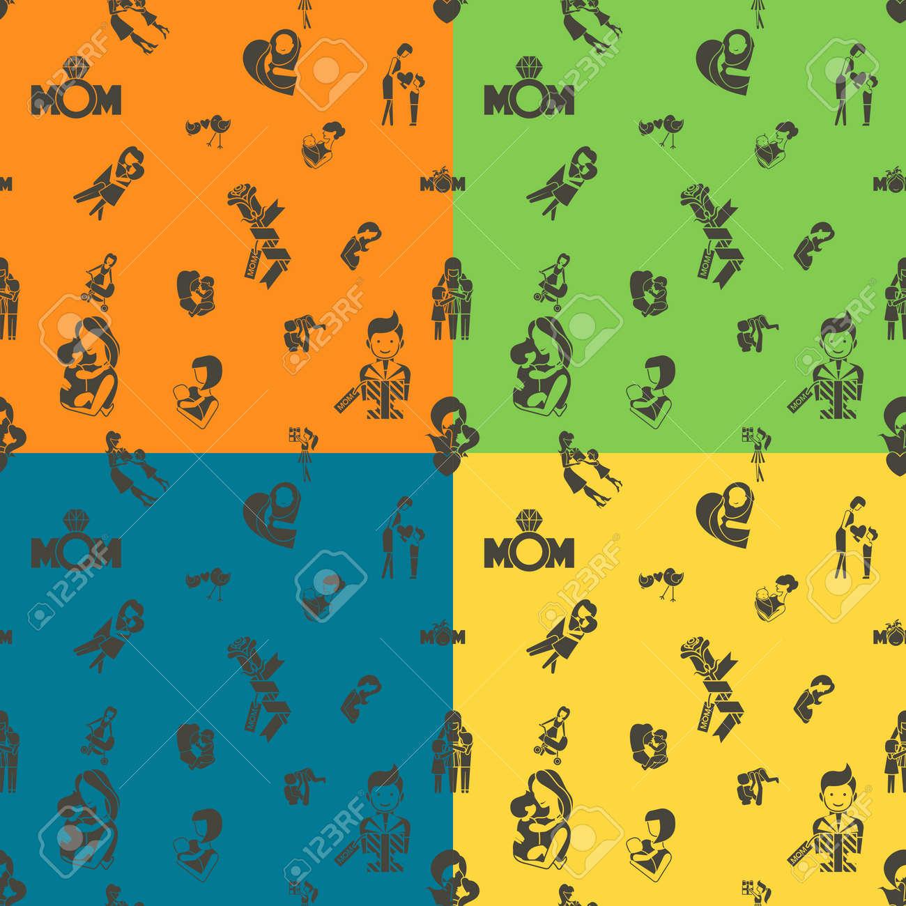 Mütter Tag Nahtlose Muster. Vier Hintergrund In Verschiedenen Farben ...