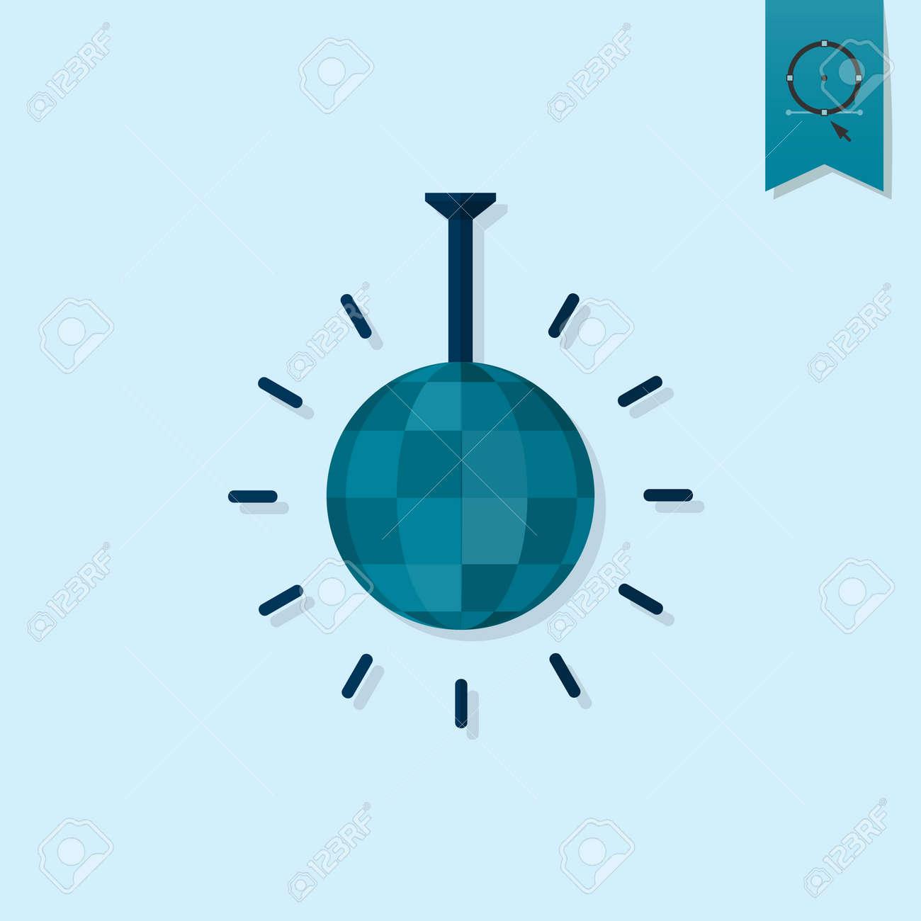 Happy Birthday Icon. Shiny Disco Ball. Simple, Minimalistic And ...