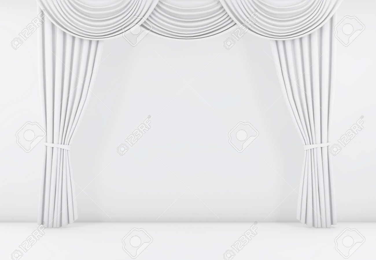 Weißer Vorhang Oder Vorhänge Hintergrund 3d übertragen Lizenzfreie