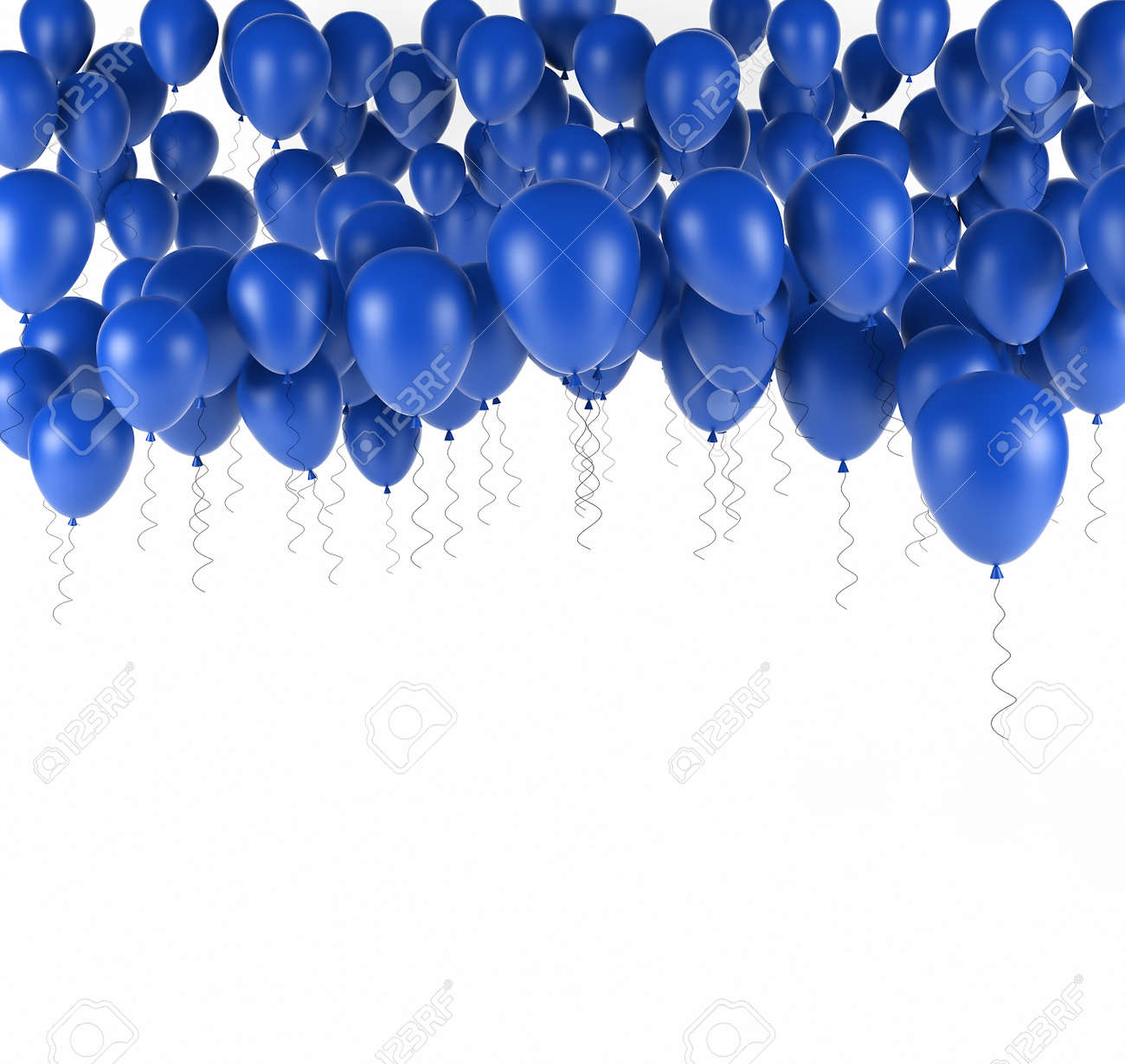 Blue Bunch Of Birthday Balloons Isolated In White 3d Render Stock Photo