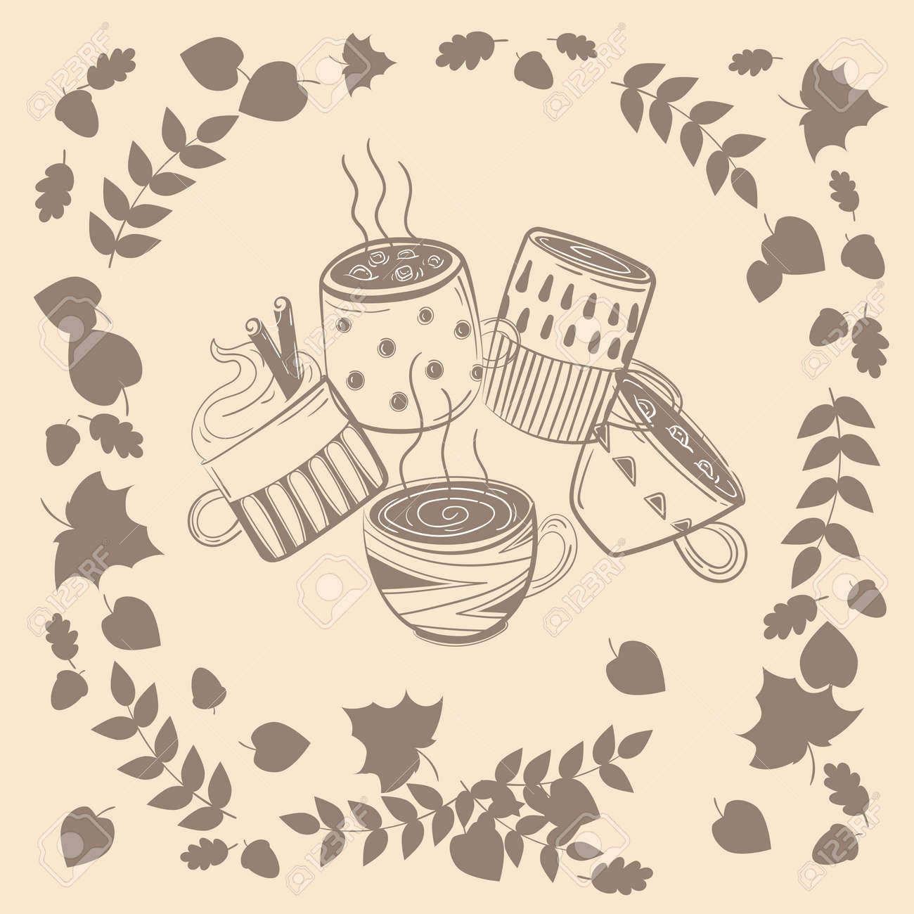Autumn Leaves Pattern All Over Coffee Mug