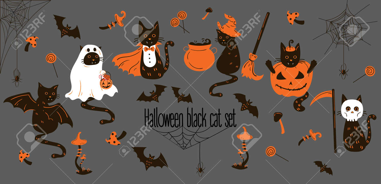 big set of black cats in halloween costumes and decor. halloween