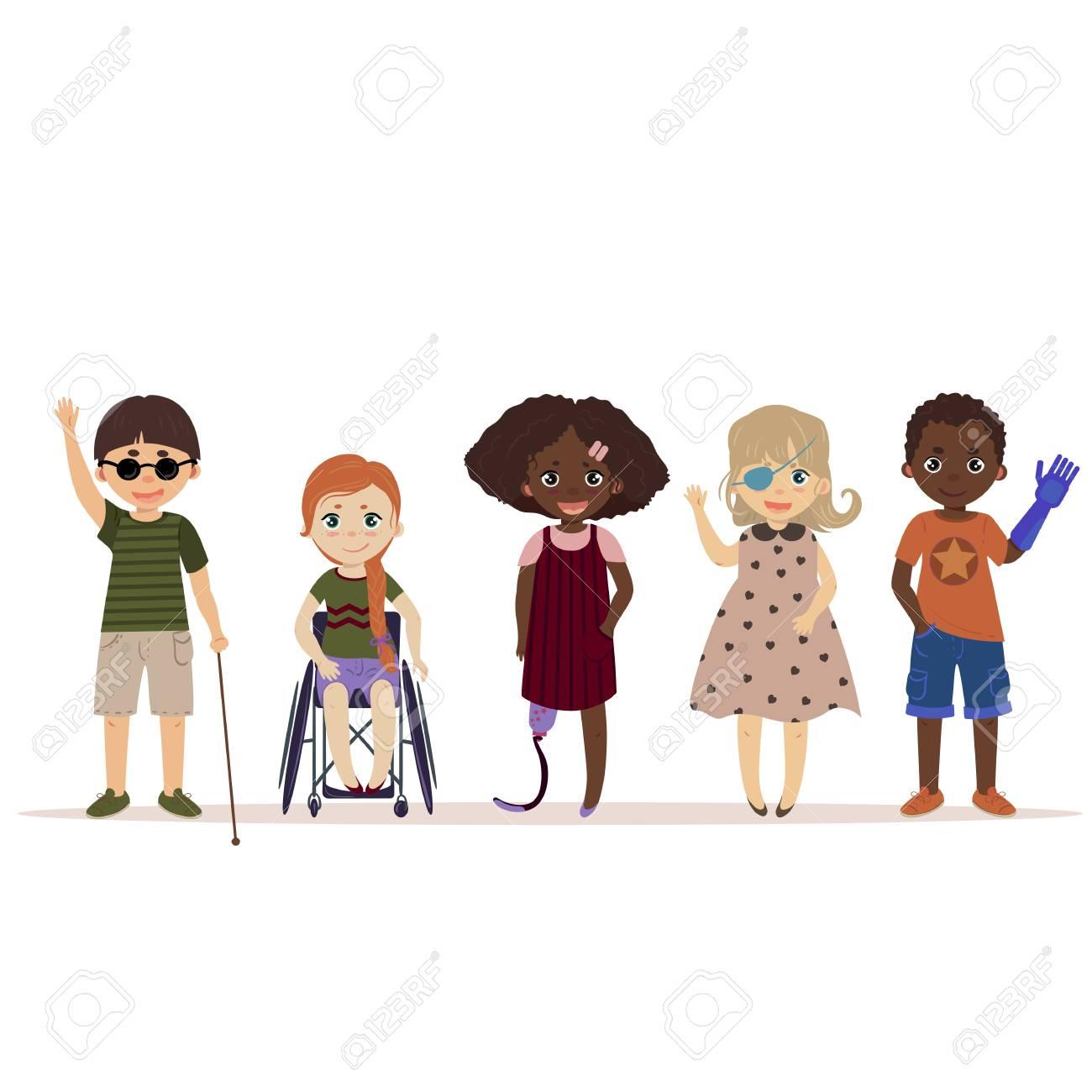 Happy children with disabilities - 89127119