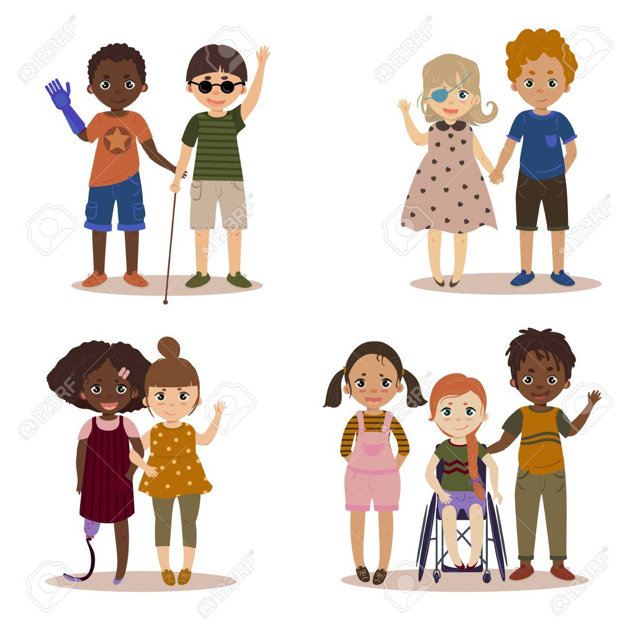 Disabled children with friends. - 89133165