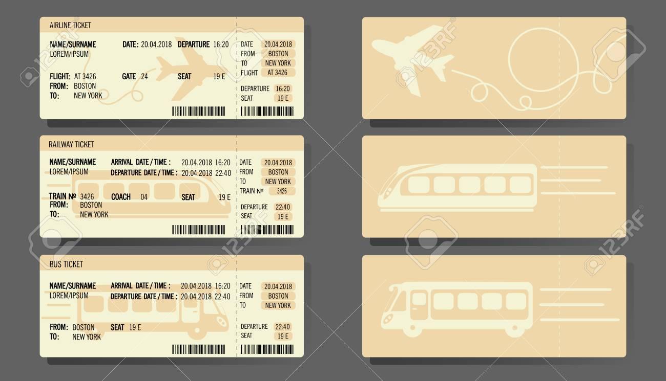 Bus, Plane, and Train ticket concept design Vector illustration. - 89714612