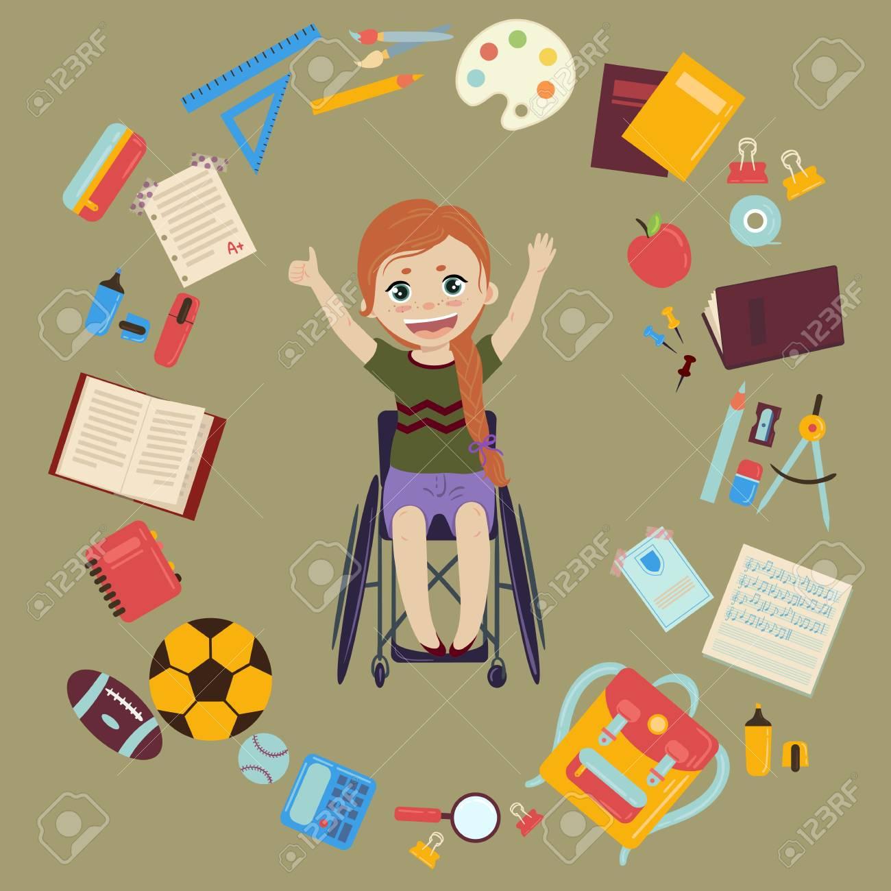 Elementary or middle school schoolgirl in wheelchair is back