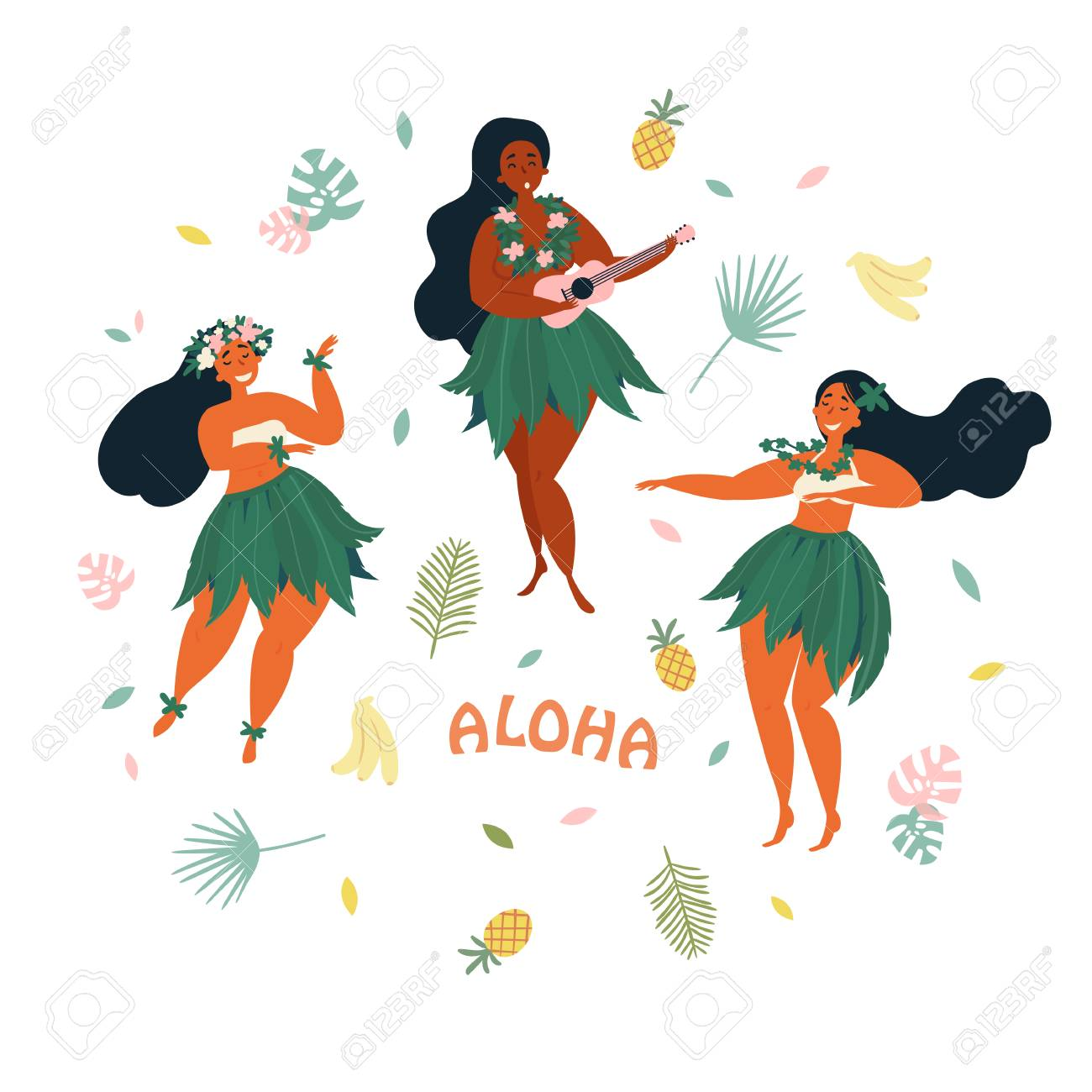Three hawaiian girls are dancing and playing ukulele guitar three hawaiian girls are dancing and playing ukulele guitar aloha text greeting card m4hsunfo