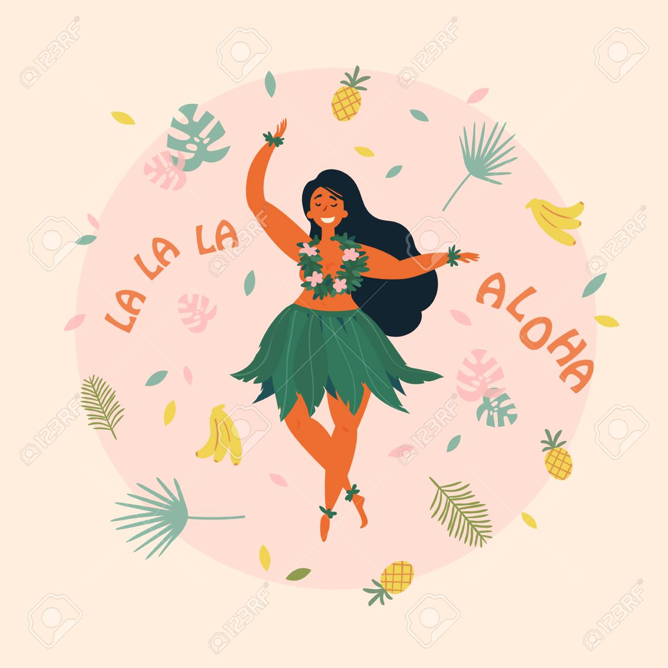 Hawaiian girl is dancing aloha la la la text greeting card hawaiian girl is dancing aloha la la la text greeting card hawaiian holidays m4hsunfo