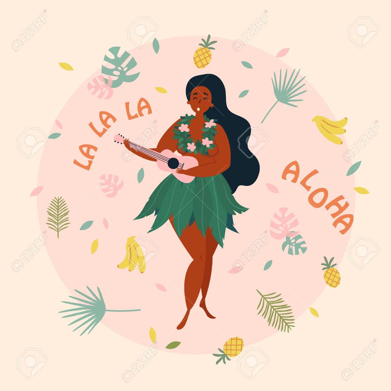Hula singer girl hawaiian plus size woman in traditional costume hawaiian plus size woman in traditional costume is singing with ukulele m4hsunfo