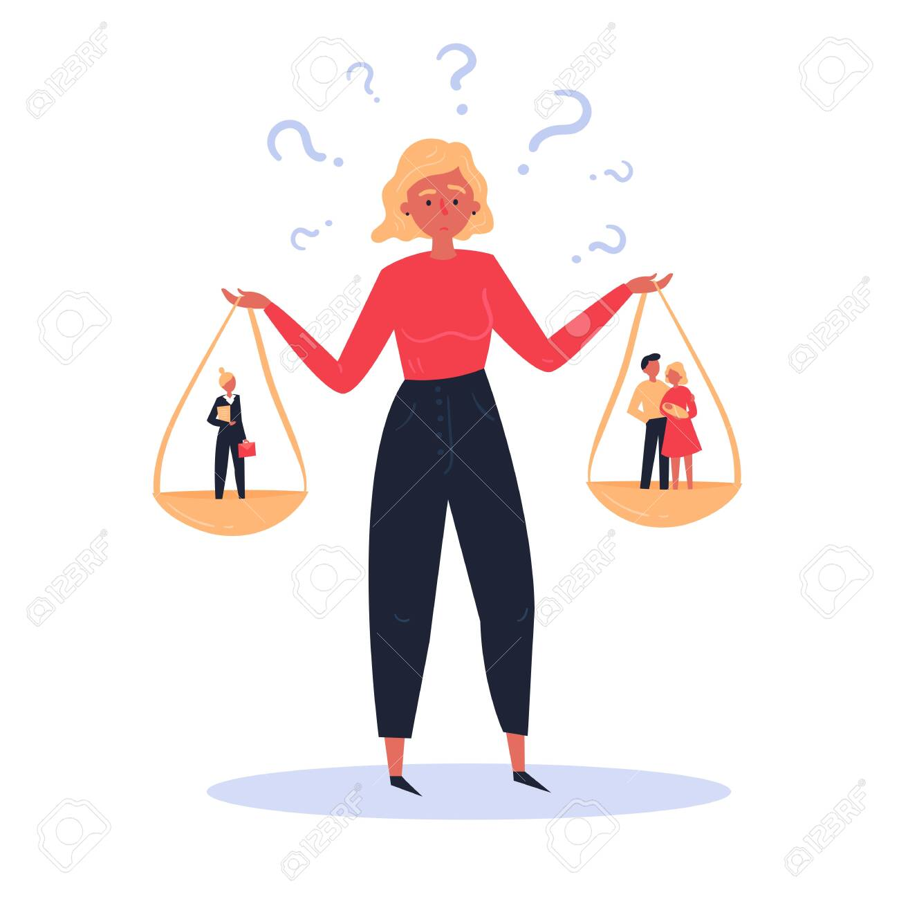Concept illustration of hard choice of a woman between career and family. Scales in hands. On one hand is happy young family of man and woman, on the other woman in business suit and briefcase. - 122680048