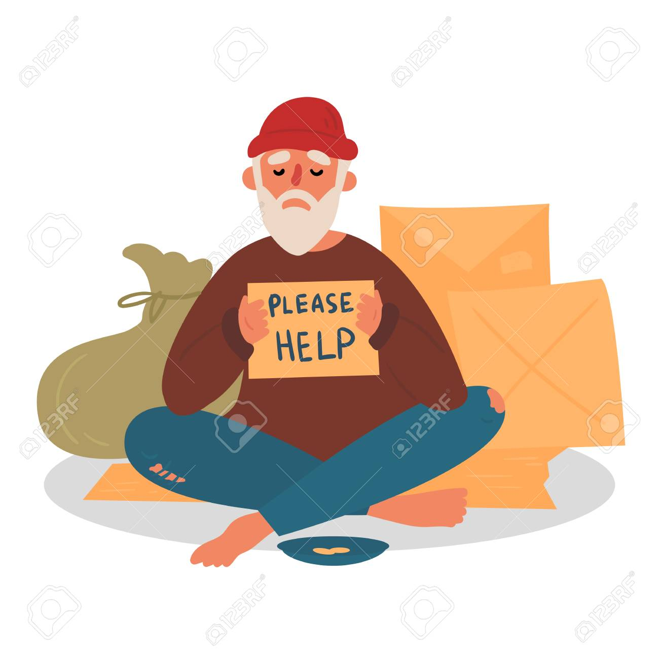 Poor homeless beggar. Poverty. Man with cardboard on the city street is asking for help. Old beggar with hope and please help text. Cardbox, bag, mendicant and beggar plate with coins. Vector flat - 122546502