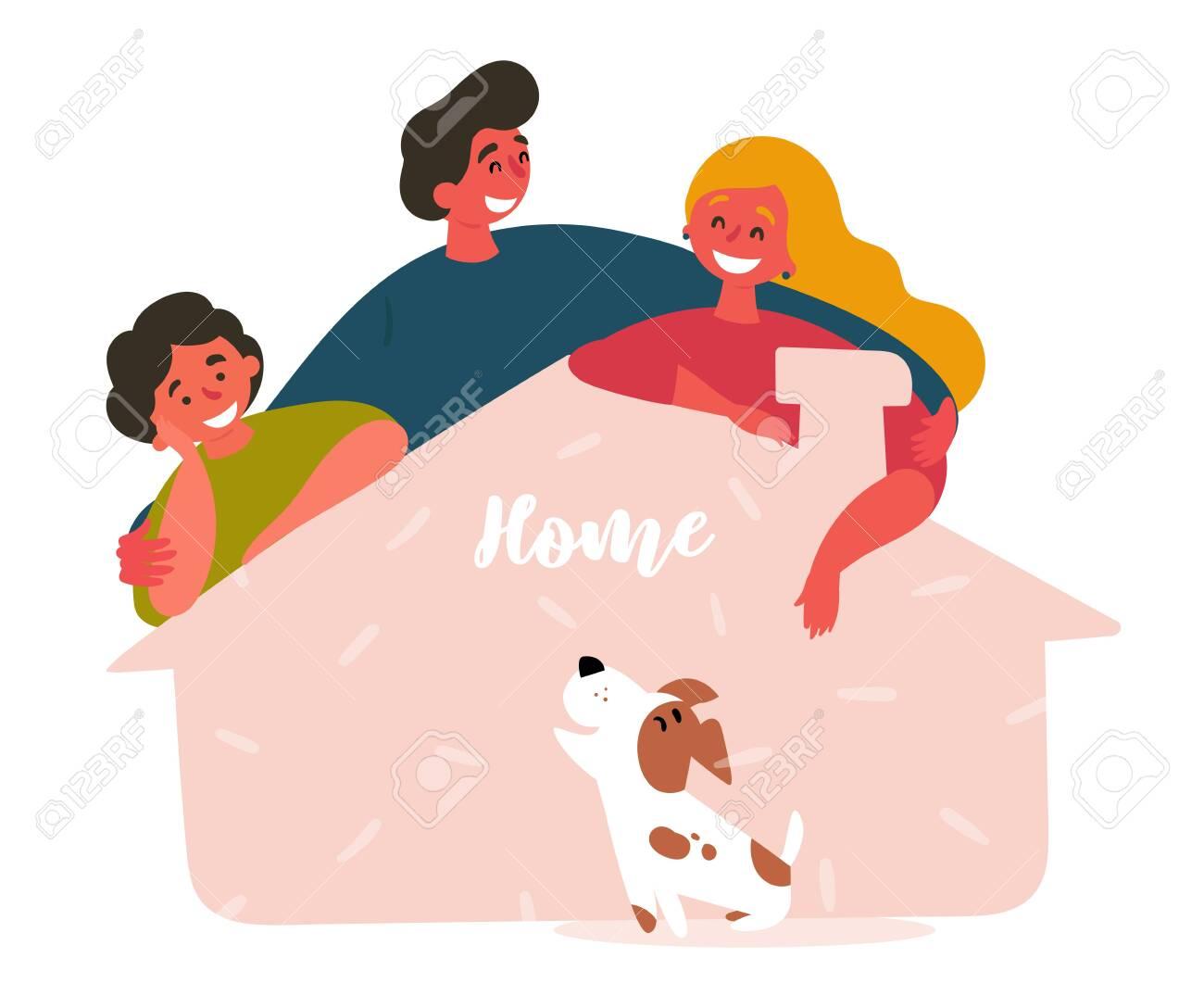Family adopts dog from shelter house. Friends saved, rescued lovely puppy and gave him new home. Two man, woman and pet. Vector flat cartoon illustration - 125484060
