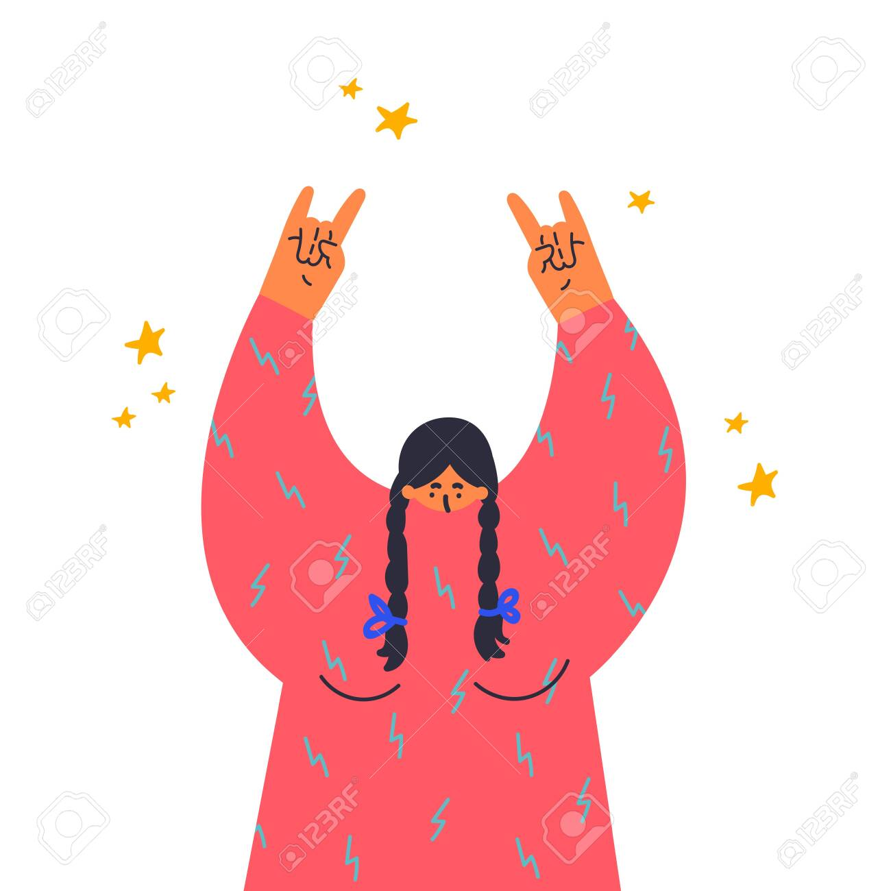 Woman makes the rock gesture, goat fingers up.Fingers up, hand sign.Gesture language.Flat vector illustration.Girl at a rock concert.Template design.Colorful cartoon characters. - 137535011