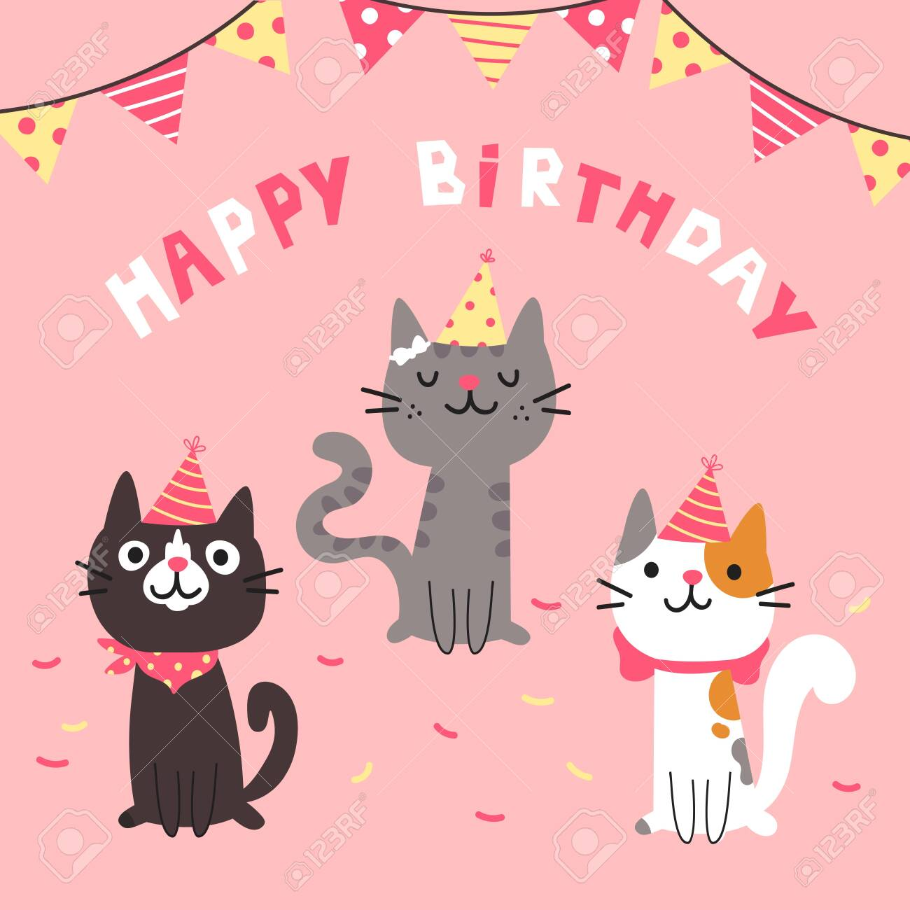 Set Of Different Cartoon Cats Happy Birthday Lettering Lovely Kittens Sitting Together Hand Drawn Pets In Festive Caps Greeting Card Vector Flat Cartoon Illustration Isolated On Pink Background Royalty Free Cliparts Vectors And Stock Illustration