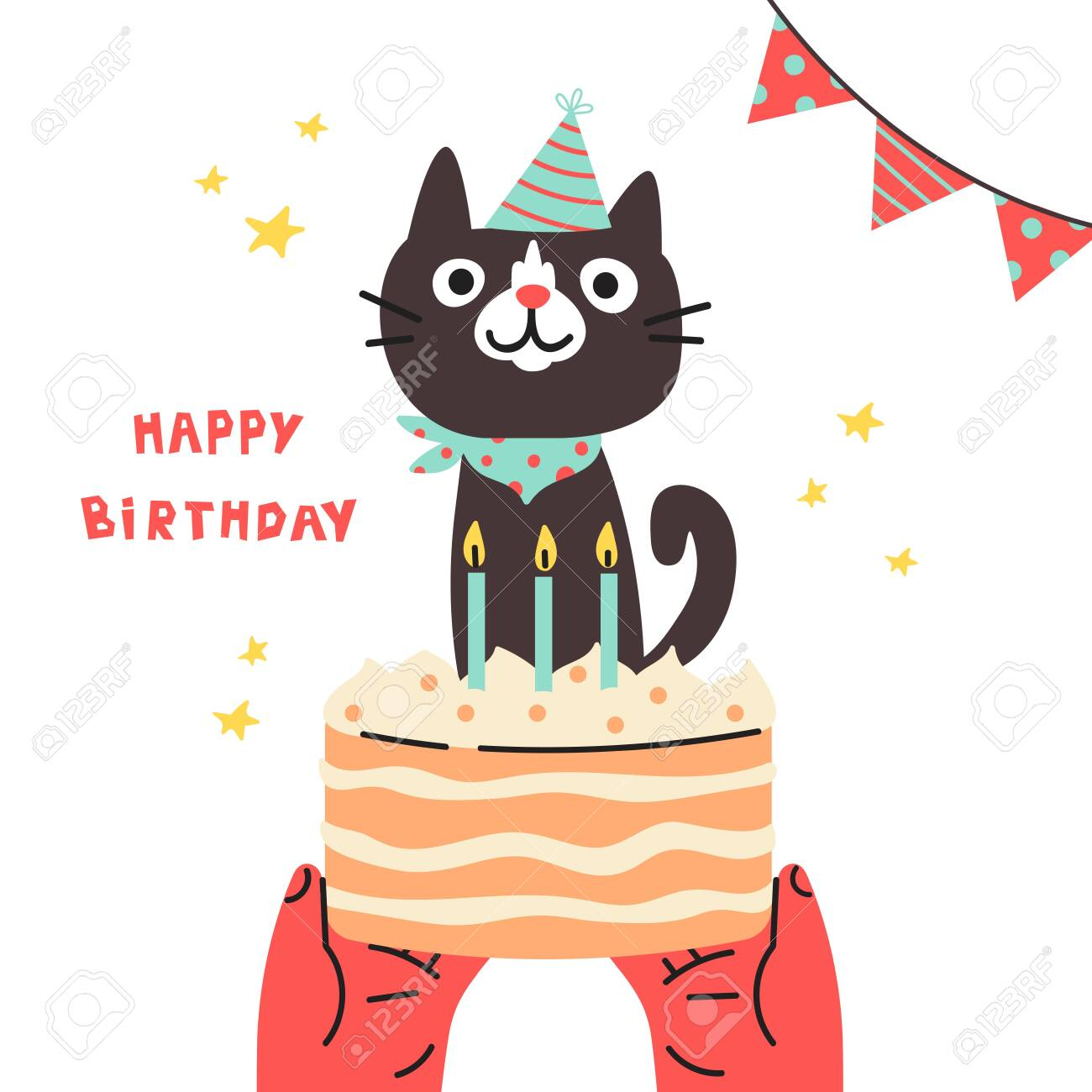 Pet Birthday Party Cat In Festive Cap Happy Birthday Lettering Lovely Royalty Free Cliparts Vectors And Stock Illustration Image 142023420