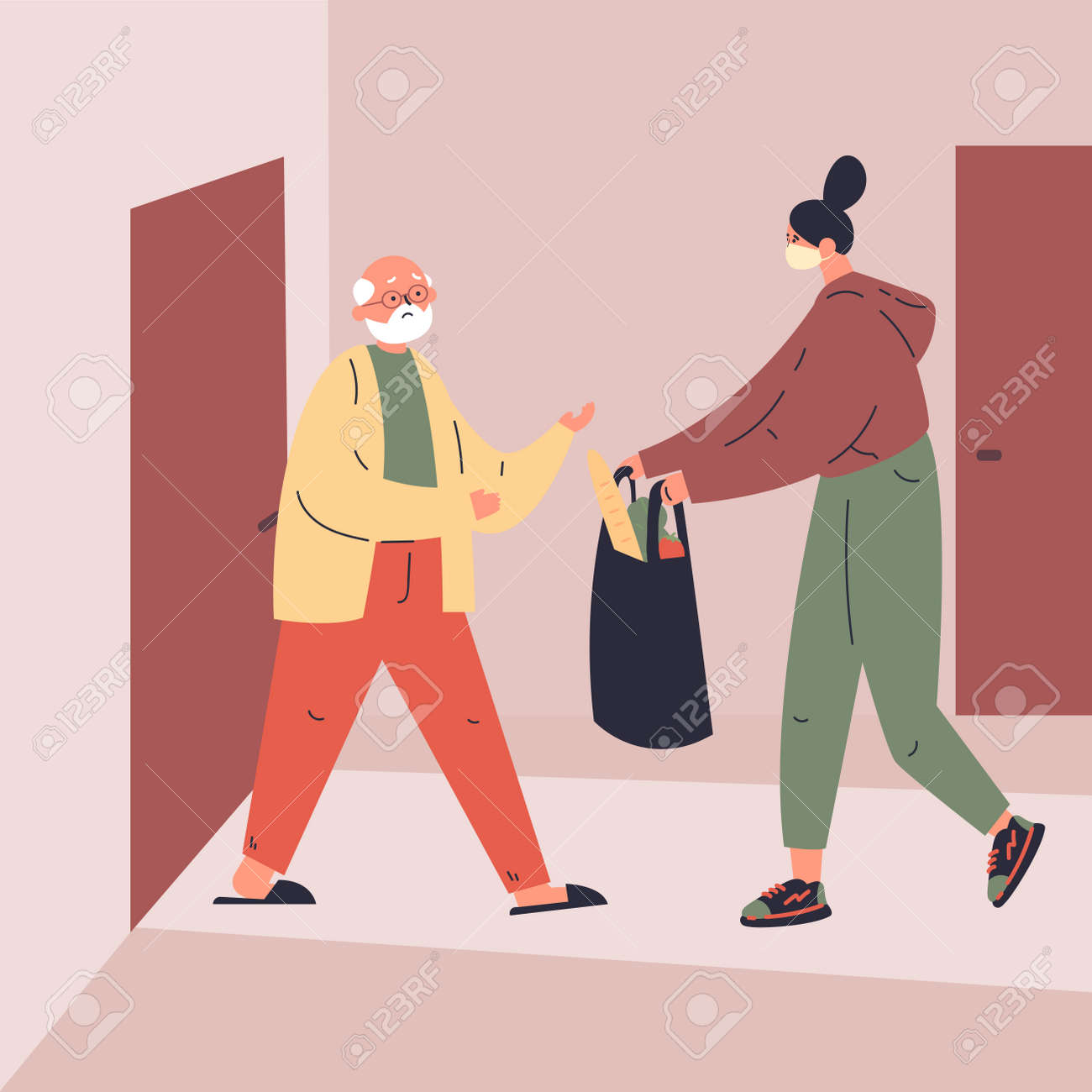 Coronavirus. Novel virus 2019-nCoV.Delivery of food to old man.A young woman helps an elderly neighbor.Caring for people at risk.Concept of coronavirus quarantine vector illustration.Flat character - 143573100