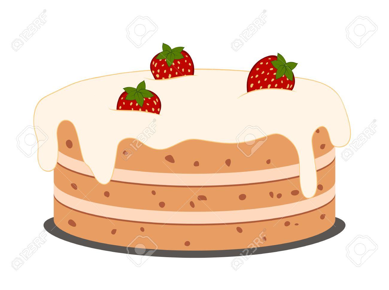Zeichnen Kuchen Mit Erdbeeren Mit Sahne Auf Weißem Lizenzfrei