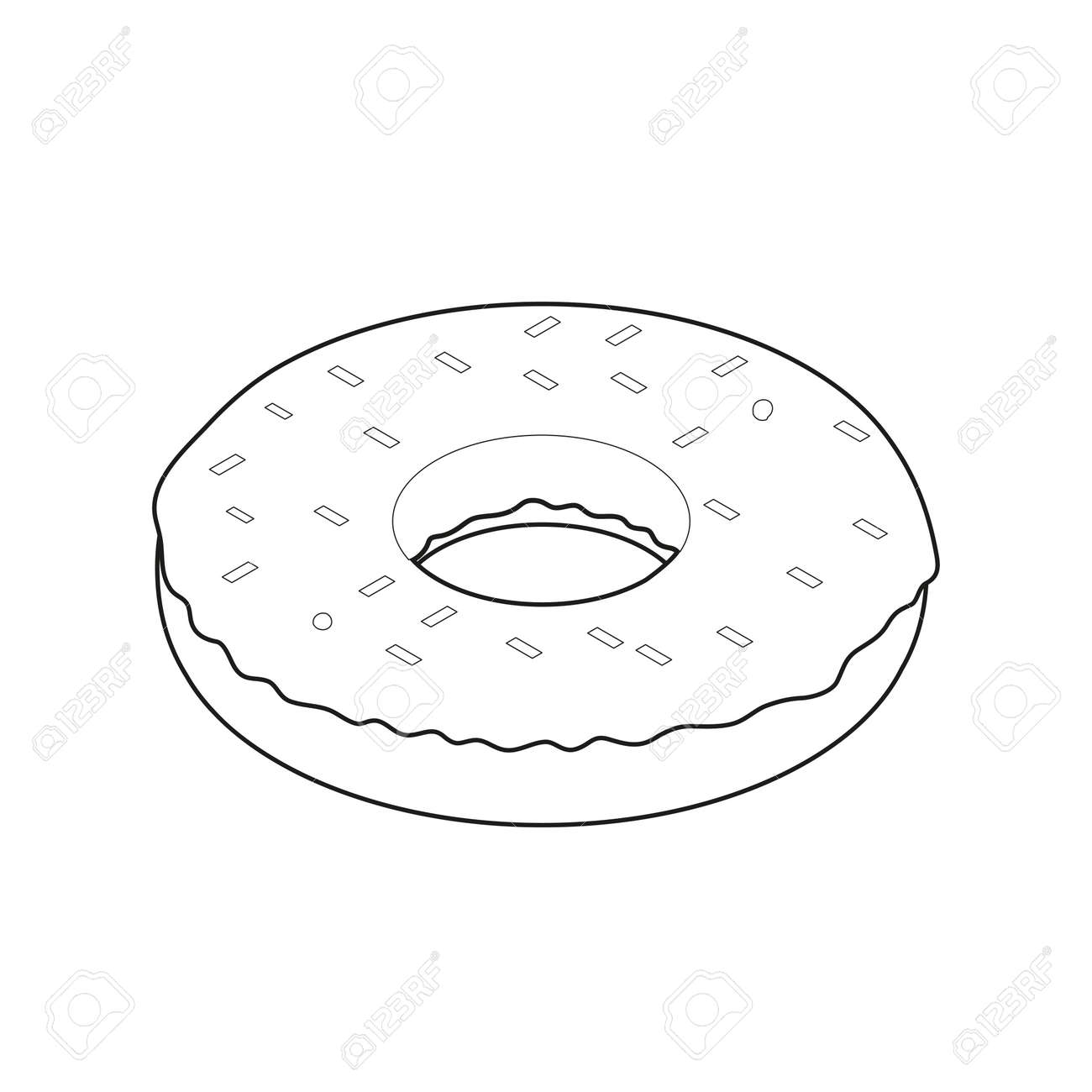 - Donut Isometric Icon, Concept Unhealthy Food Coloring Book, Fast