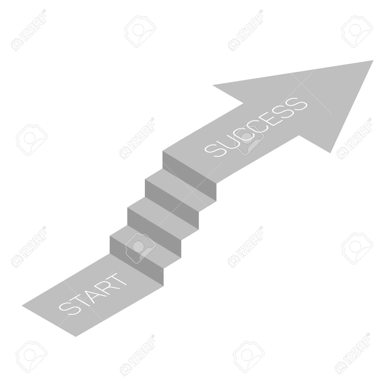 Stair With Arrow Isometric View Infographic Concept Vector