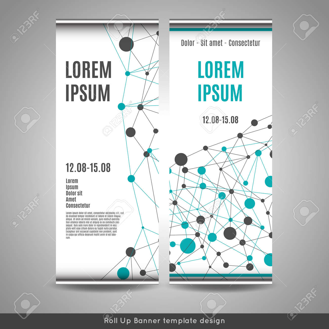 roll up banner template design with connection pattern royalty free