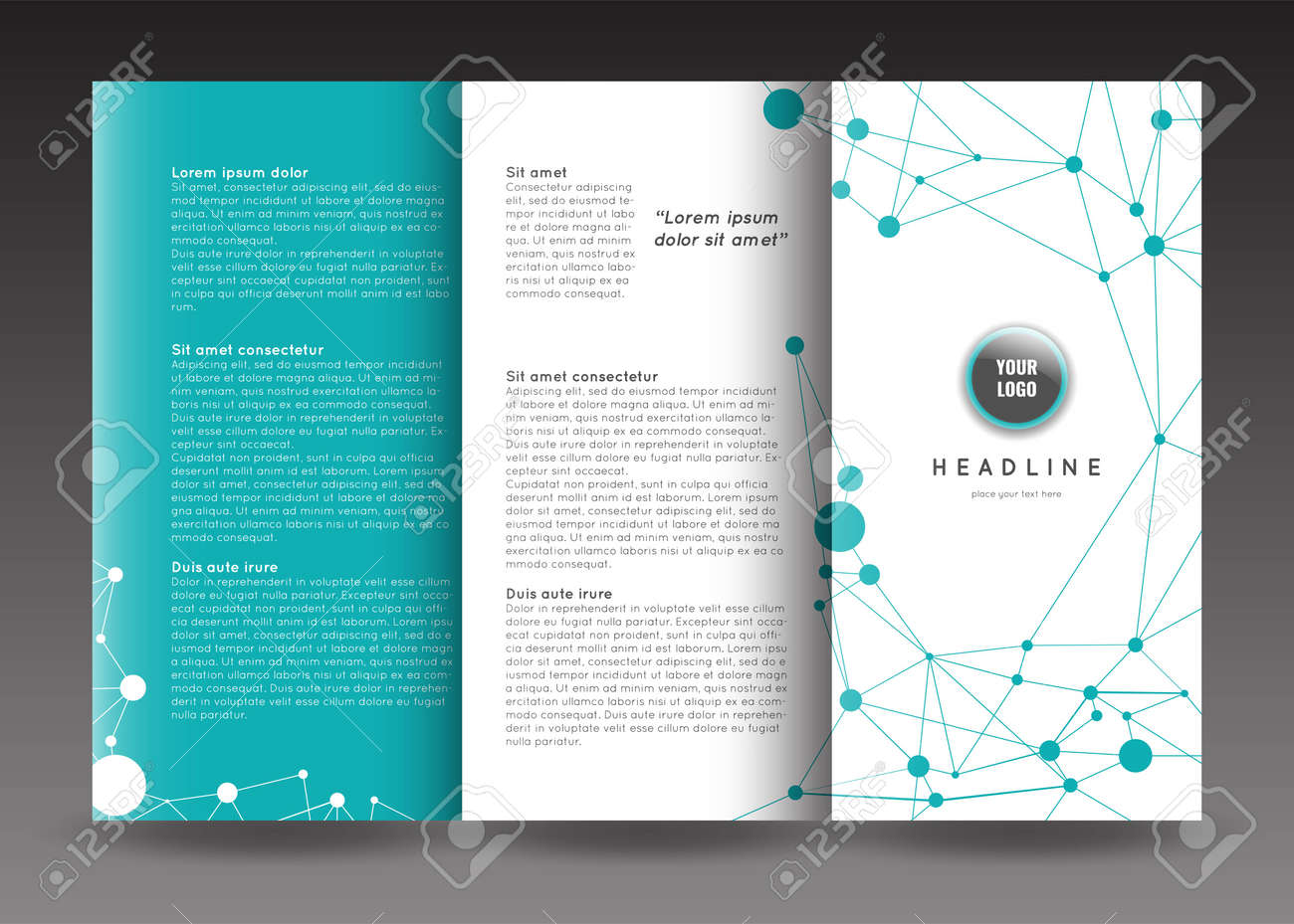 corporate trifold brochure template design connection abstract