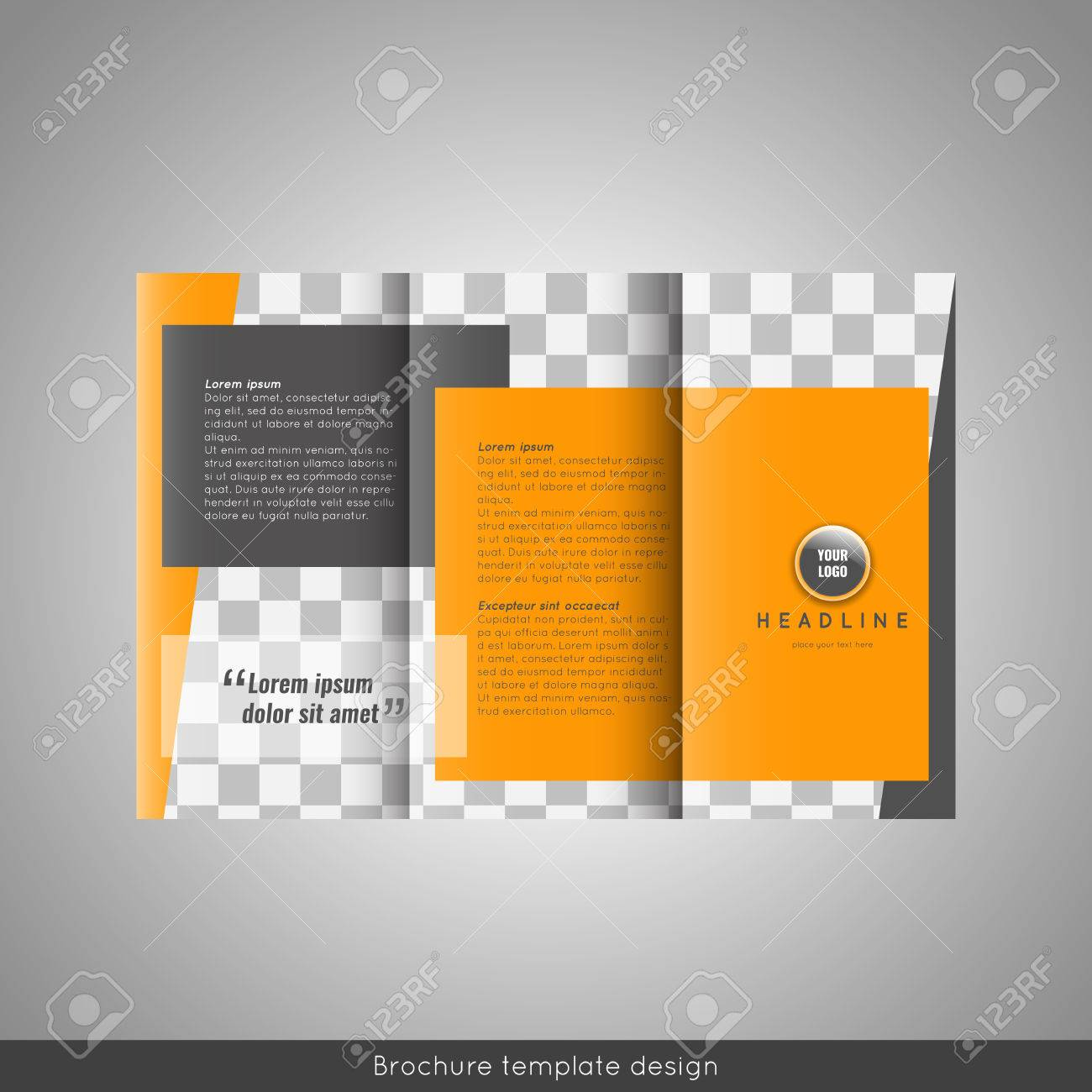 Trifold Business Brochure Template Design Royalty Free Cliparts