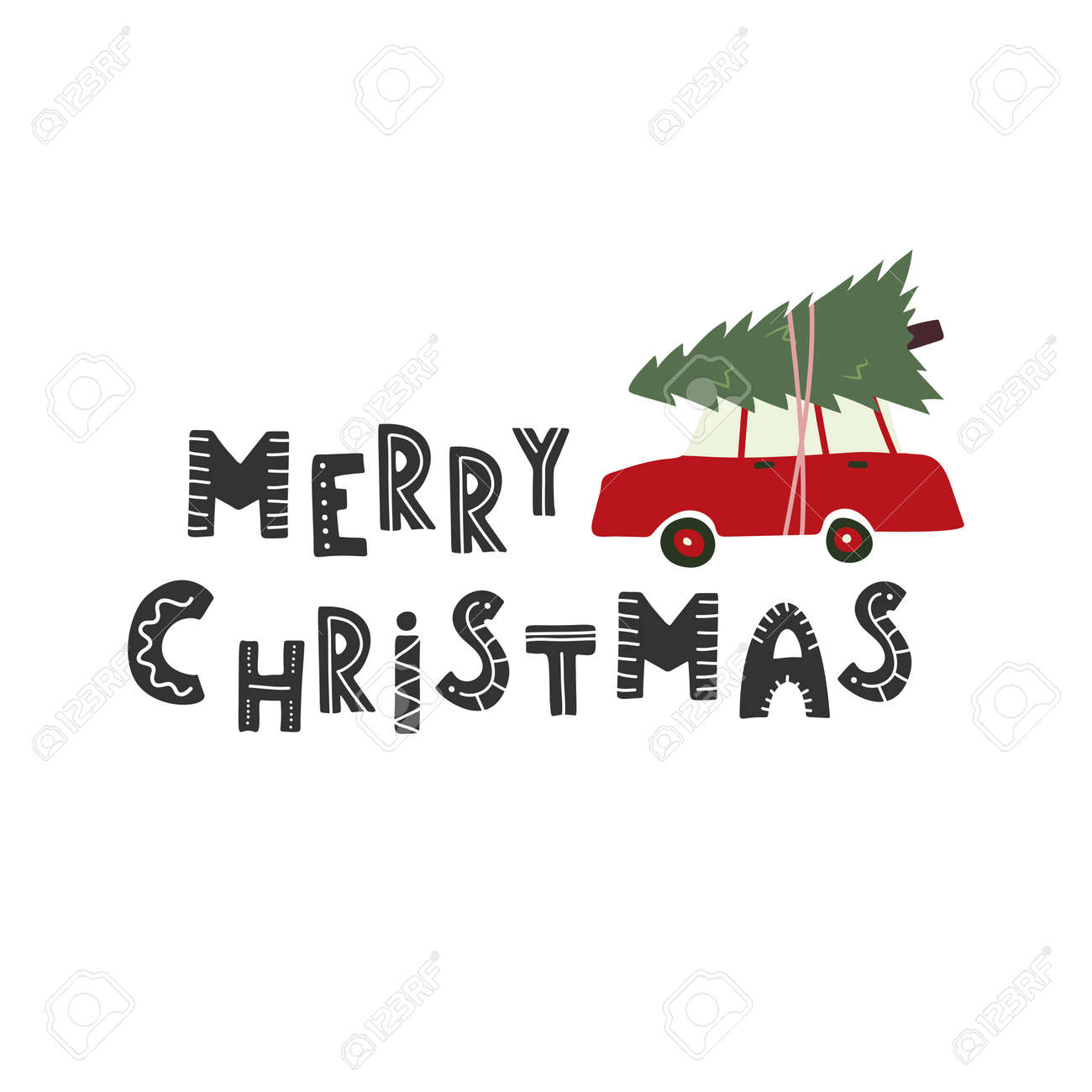Merry Christmas Car With A Christmas Tree On The Roof Royalty Free