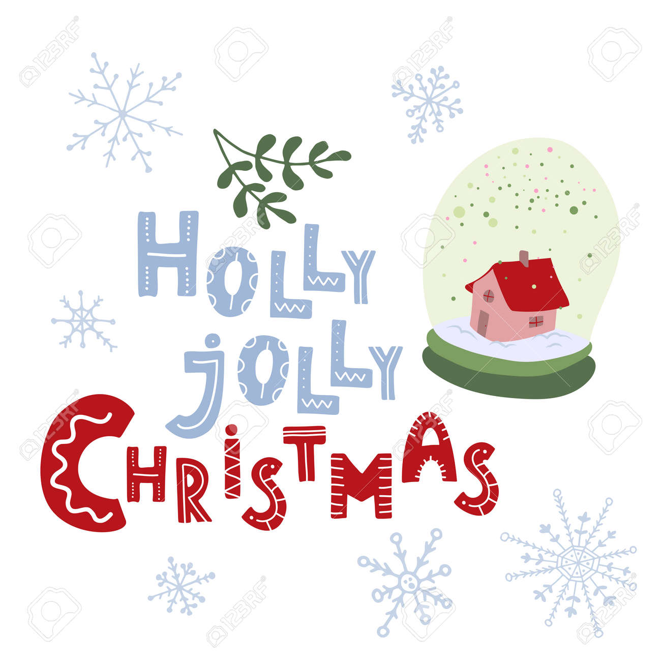Holly Jolly Christmas. Hand Drawn Lettering. Snow Globe Winter ...