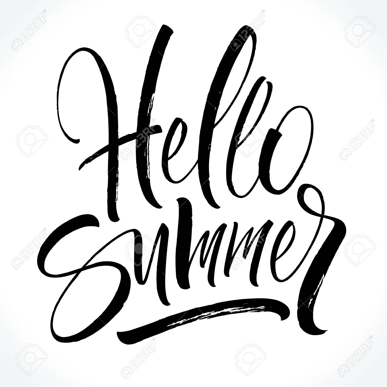 hello summer lettering brush painted letters template for banner