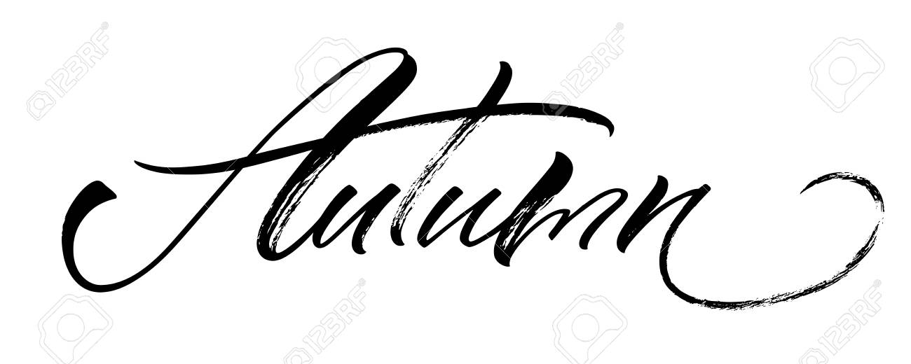Autumn Lettering Handwritten Modern Calligraphy Brush Painted