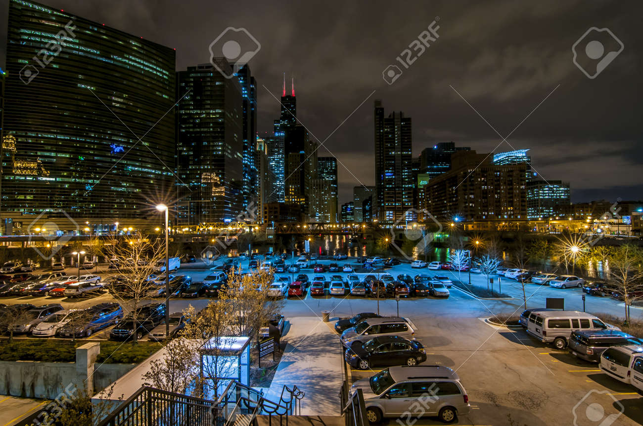 Downtown Chicago by the River at night Stock Photo - 16838394